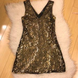 EXPRESS GOLD SEQUIN tank mini COCKTAIL dress 👗